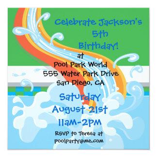 "Water Park Pool Party Invitation 5.25"" Square Invitation Card"
