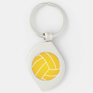 Water Polo Ball metal key chain Silver-Colored Swirl Key Ring