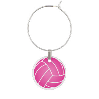Water Polo Ball Wine Charm - Pink