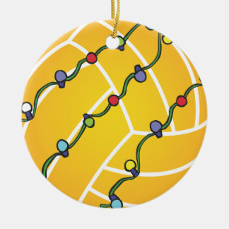 Water Polo Ball With Lights Holiday Oranament Round Ceramic Decoration