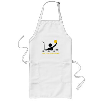 Water polo player black silhouette custom long apron