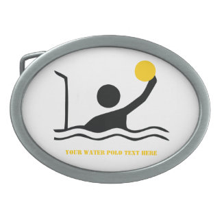 Water polo player black silhouette custom oval belt buckle