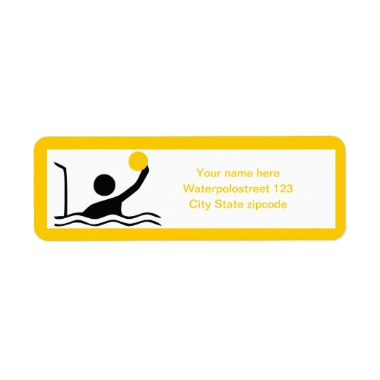 Water polo player black silhouette custom return address label