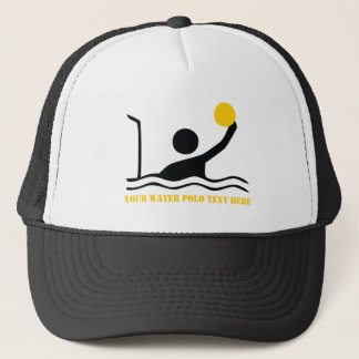 Water polo player black silhouette custom trucker hat