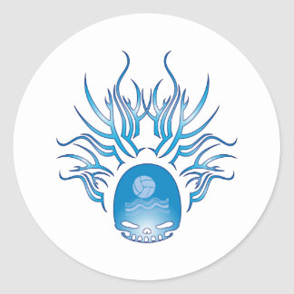 Water Polo Skull Classic Round Sticker