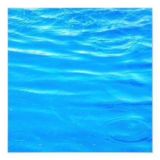 Water pretty deep blue rippling beautiful photo 13 cm x 13 cm square invitation card