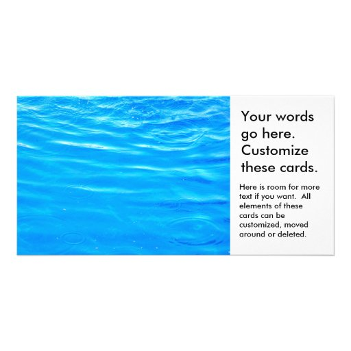 Water pretty deep blue rippling beautiful photo personalized photo card