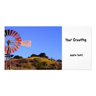 Water Pumping Windmill Custom Photo Card