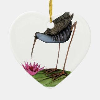 water rail wild bird ceramic heart decoration