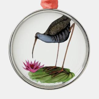 water rail wild bird Silver-Colored round decoration
