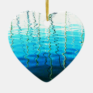 water reflections ceramic heart decoration
