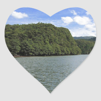 Water River Lake Islands Heart Stickers