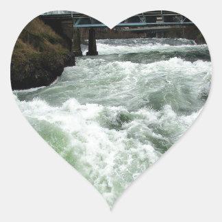 Water River Rapids Heart Sticker