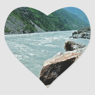 Water Rivers Mountain Flood Banks Heart Stickers