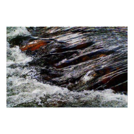 Water Rushing Over Rocks Posters