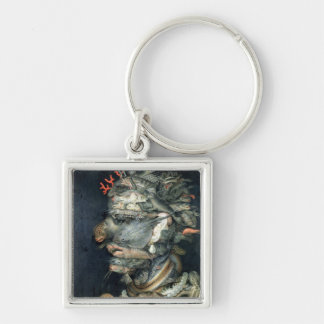 Water, Silver-Colored Square Key Ring