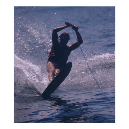 Water Ski -- In Blue Poster