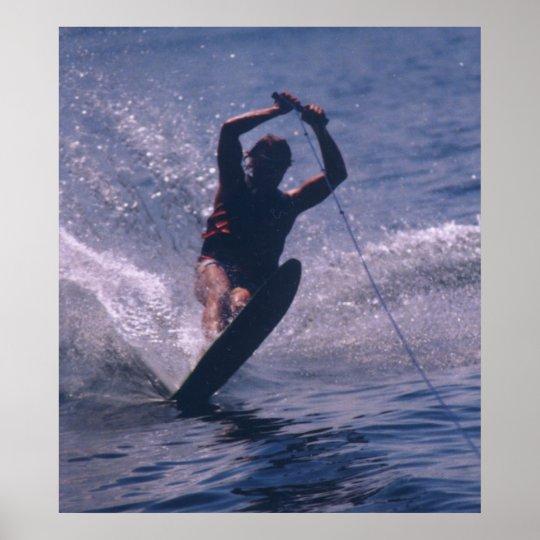 Water Ski -- In Blue Poster