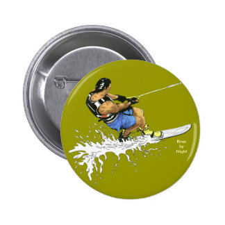 Water Skier -blue Pinback Buttons