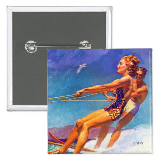 Water Skier by McClelland Barclay 15 Cm Square Badge