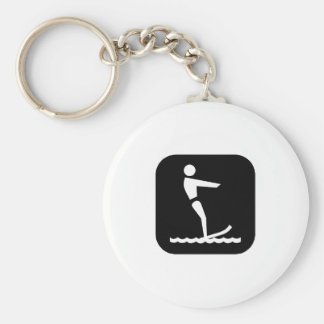 Water Skiing (Blk) Basic Round Button Key Ring