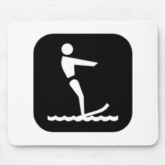 Water Skiing Blk Mouse Mat