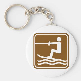 Water Skiing Highway Sign Key Ring