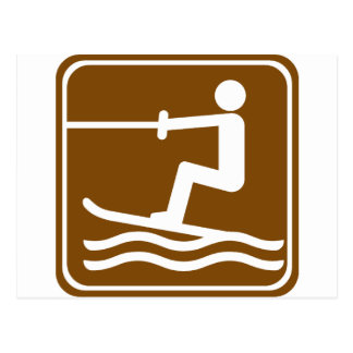 Water Skiing Highway Sign Post Card