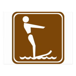 Water Skiing Highway Sign Postcard