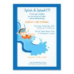 "Water Slide Birthday Party Invitation 5"" X 7"" Invitation Card"
