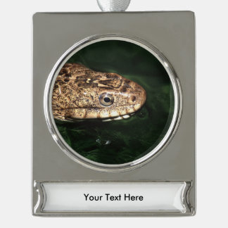 Water snake with reflection silver plated banner ornament