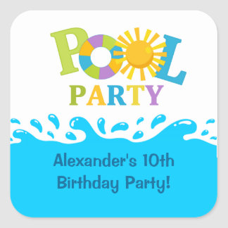 Water Splash Boy Pool Party Birthday Sticker