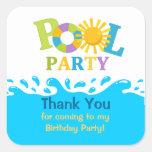 Water Splash Boy Pool Party Thank You Sticker