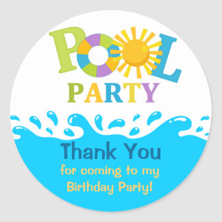 Water Splash Boy Pool Party Thank You Sticker