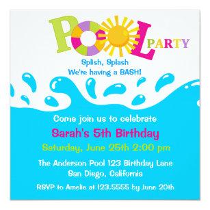 Water party invitations announcements zazzle water splash girl pool party birthday invitation stopboris Gallery