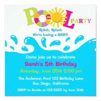 Water Splash Girl Pool Party Birthday Invitation