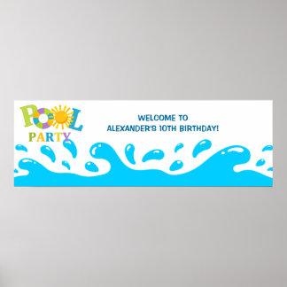 Water Splash Pool Party Boy Birthday Banner Poster