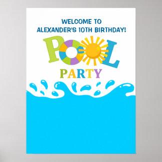 Water Splash Pool Party Boy Birthday Poster