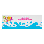 Water Splash Pool Party Girl Birthday Banner Poster