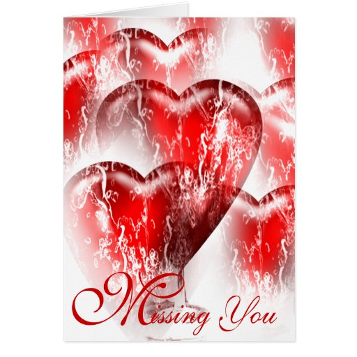 Water-Splashed Hearts Missing You Card