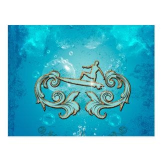 Water sport, surfboarder postcard