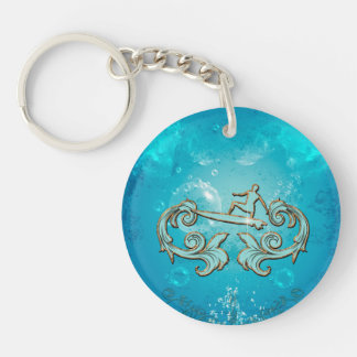 Water sport, surfboarder Single-Sided round acrylic key ring