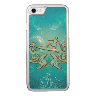 Water sport, surfboarder with bubbles carved iPhone 8/7 case