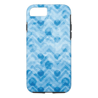 Water Stained Aqua Blue Polka Dots and Chevrons iPhone 7 Case