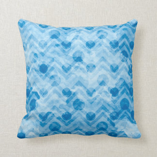 Water Stained Aqua Blue Polka Dots and Chevrons Throw Pillow