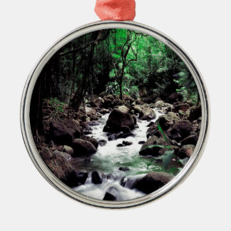 Water Stream Hawaii Silver-Colored Round Decoration