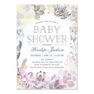 Water Succulents   Baby Shower Card