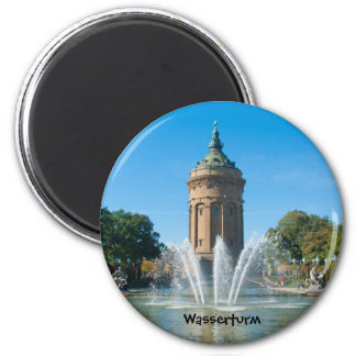 Water tower 6 cm round magnet
