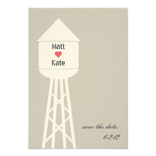 Water Tower Wedding Save The Date Invitation
