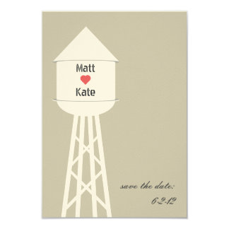 "Water Tower Wedding Save The Date 3.5"" X 5"" Invitation Card"